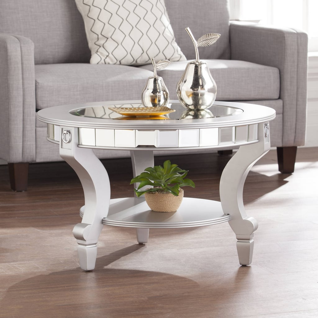 Southern Enterprises Ladislas Glam Mirrored Round Coffee Table
