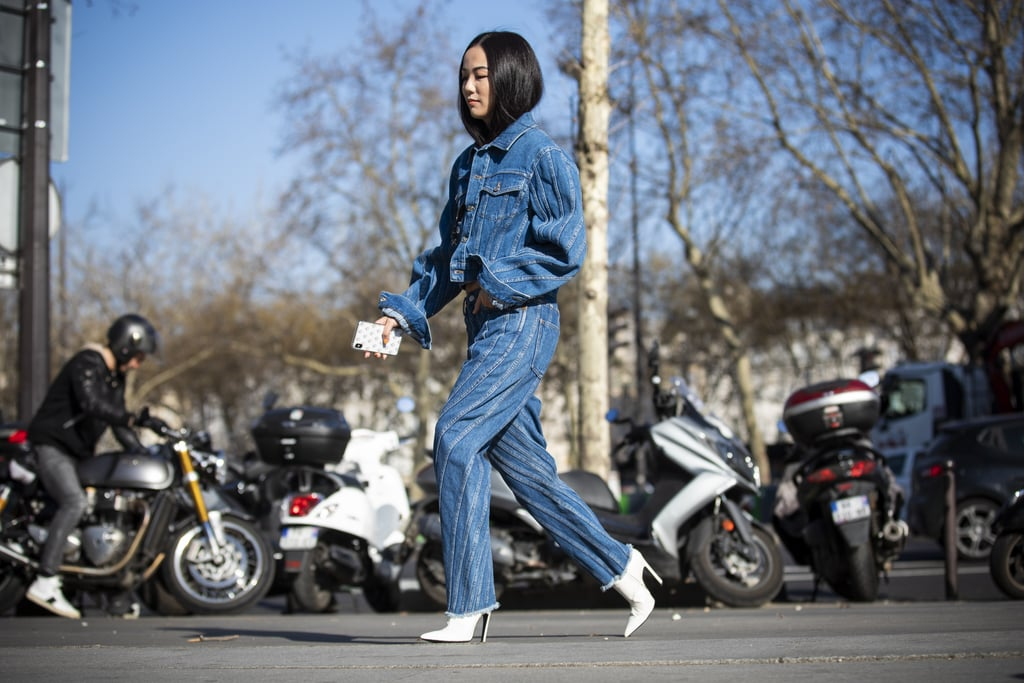 White stiletto boots instantly elevate a denim set.