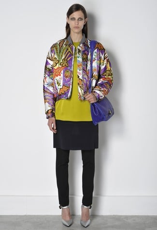 The jacket is the same shape as a varsity jacket I once had in high school.  Again, the tunic is paired with skinny pants; will Nicolas continue this trend in his Fall collection?
