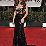Salma Hayek's futuristic, strapless gown stole the show at the 2012 Golden Globe Awards in Los Angeles.