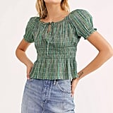 Free People Vivi Smocked Stripe Top
