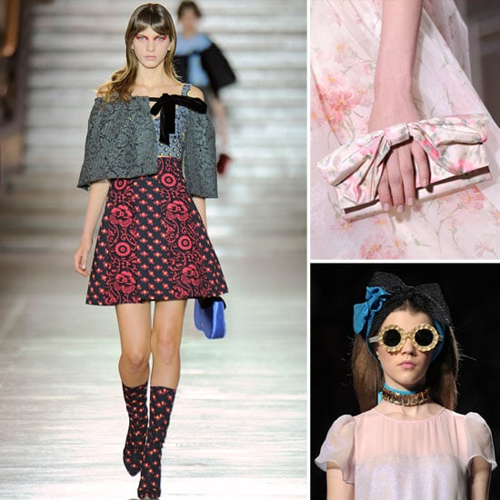 From bow-infused clutches to bow-tied capes, there was no shortage of prettily knotted accents on the Spring 2012 runways. We spotted floral print, bow-strap clutches at Valentino and floppy bow-tied capes at Miu Miu, while Viktor & Rolf doubled up on the bow headbands, to name but a few. From top left, clockwise: Miu Miu Spring '12, Valentino Haute Couture Spring '12, and Viktor & Rolf Spring '12