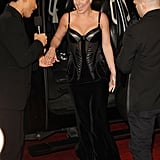 Britney Spears wore a black dress with a sexy corset detail.