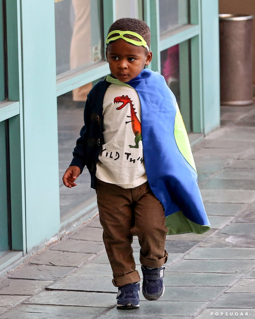 Jackson wore an adorable cape to the gym.