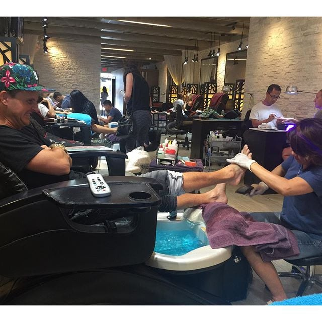 Rob indulged in a pedicure before his big day.