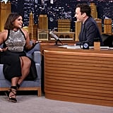 Mindy's David Koma Dress and Rebecca Minkoff Shoes