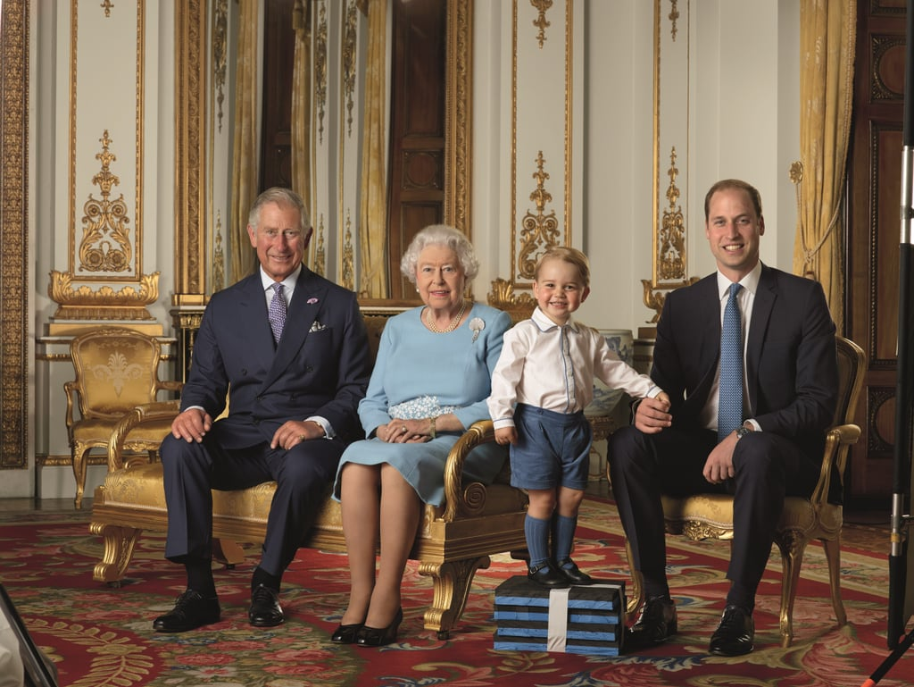 Prince George put on his best smile when the Queen snapped a photo with her royal heirs during her 90th birthday celebration in April.