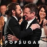 Casey Affleck hugged Matt Damon as he was announced the winner of the best actor award.