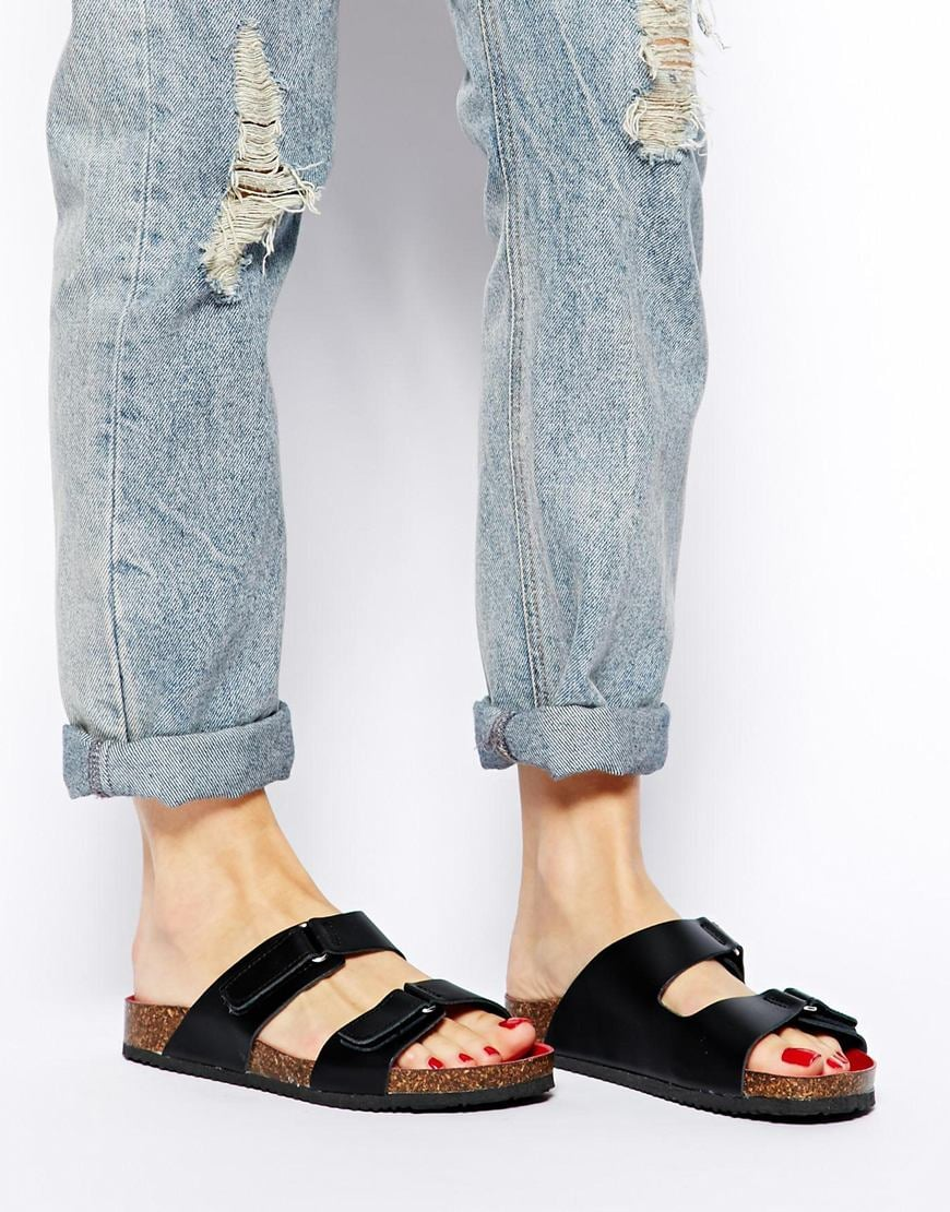 ASOS black leather velcro cork-bottom sandals ($56)