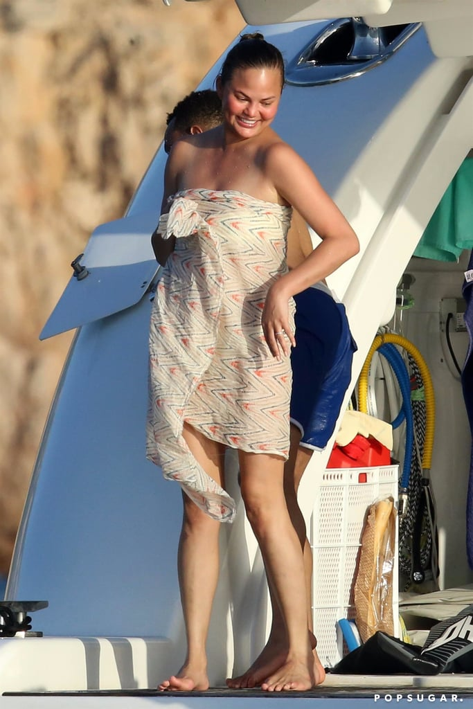 Chrissy Teigen White Bandeau Bikini