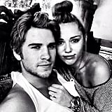 Liam Hemsworth and Miley Cyrus snuggled up. Source: Instagram user liamhemsworth_