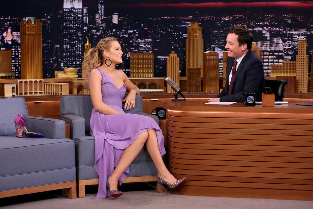 Blake Lively Wearing Purple Roland Mouret Dress
