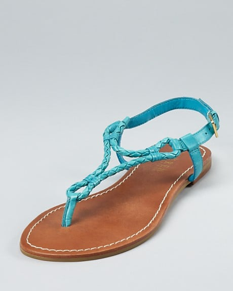 If you're bored of gladiators, opt for this thong sandal with a braided vamp, which has a classic, Grecian edge to its style.  Alexa Rope Lauren by Ralph Lauren Flat Sandals in Pool Blue ($59)