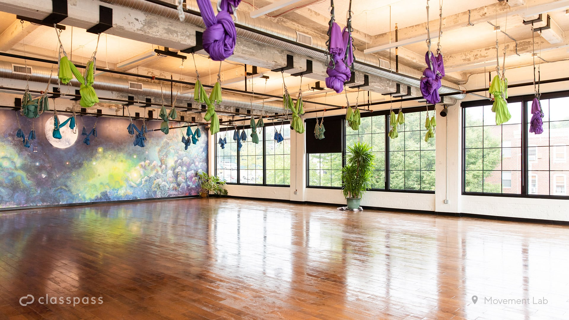 Aerial Yoga Studio Zoom Background These Gym Style Zoom Backgrounds Will Make Your Virtual Workout Feel Like The Real Deal Popsugar Fitness Photo 10