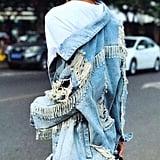 Saintchic Crystal Fringe Denim Jacket
