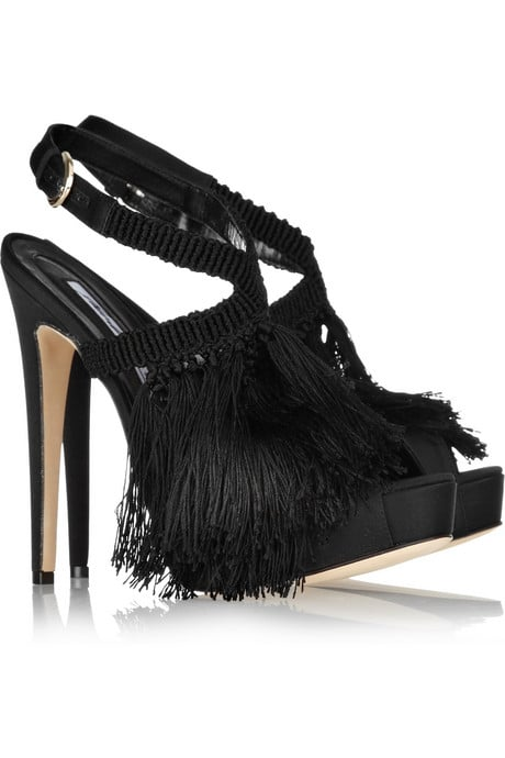 Brian Atwood Africa Satin and Fringed Crochet Sandals ($1,935)