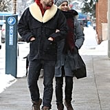 Joshua Jackson and Diane Kruger were all bundled up in Aspen on Saturday.