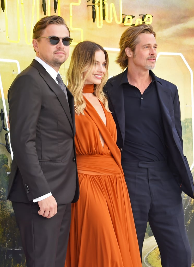 Leonardo DiCaprio, Margot Robbie, and Brad Pitt at the UK premiere of Once Upon a Time in Hollywood.