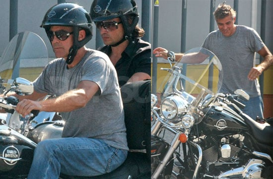 Photos of George Clooney on his Motorcycle at Lake Como