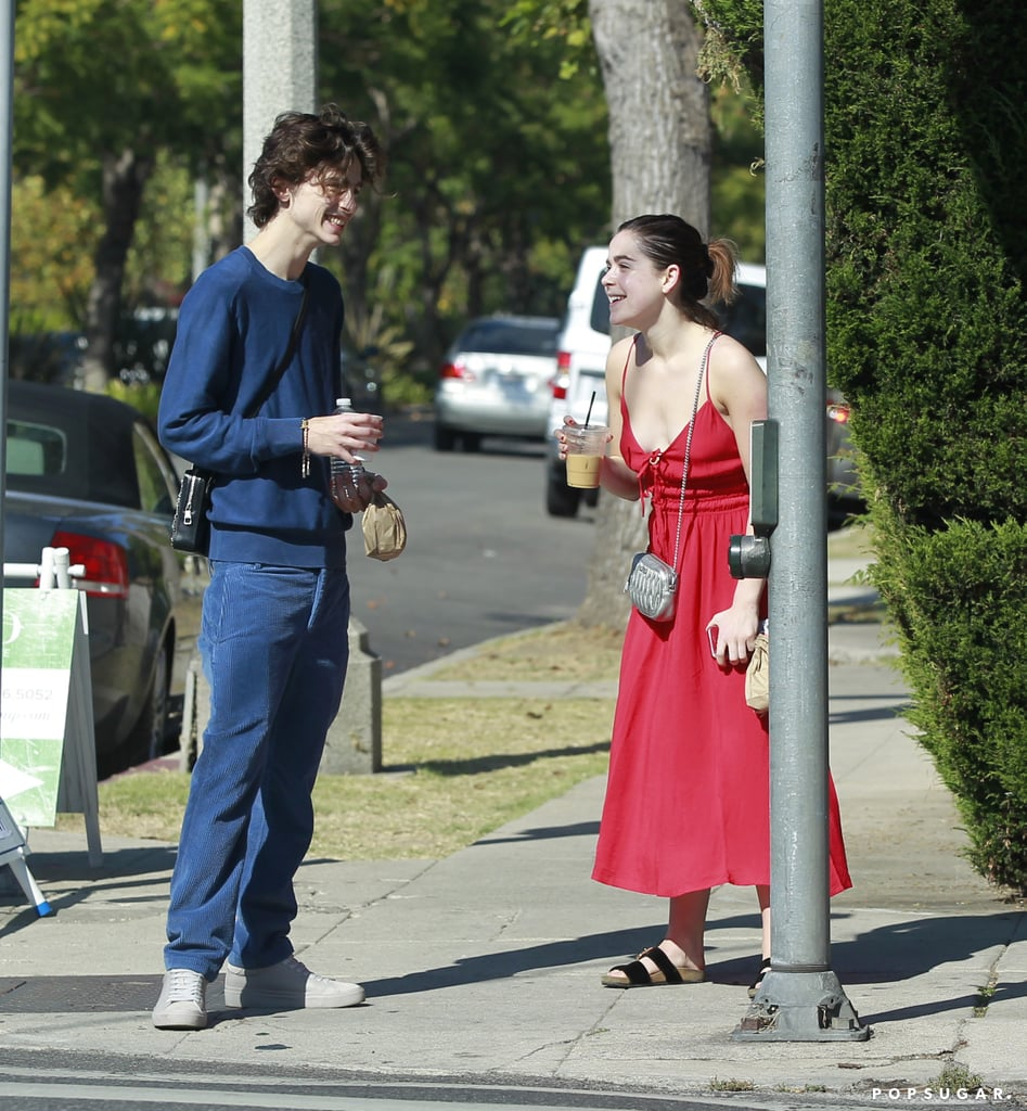 "Hot off his press tour for The King, Timothée Chalamet returned to LA and caught up with pal Kiernan Shipka on Monday. The 23-year-old actor and 19-year-old Chilling Adventures of Sabrina star appeared in good spirits as they enjoyed the sunny weather and met up for coffee. Kiernan and Timothée's friendship extends back to at least 2015 when they played siblings in One & Two. They haven't worked together since, but as Timothée told W magazine last year, their bond runs deep. ""I am quite close to Kiernan Shipka, who I did a movie with called One & Two a number of years ago, and her family has always been really, really kind to me,"" he said. ""I didn't really know a lot people on the West Coast when I first started coming out here, so they always took me and really made me feel like one of their own.""  Do you think these longtime friends took a second to chat about their love lives? Timothée and his King costar Lily-Rose Depp spent a steamy Summer together and were spotted grabbing a late-night bite at the end of October. Meanwhile, Kiernan doesn't appear to be in a relationship at the moment, but she was previously linked to Charlie Oldman and Christian Coppola. What better time to spill tea than when you're grabbing coffee? Look ahead to see more photos from their cute SoCal catch-up!       Related:                                                                                                           Kiernan Shipka Is Surrounded by Costars at a Wintery Shoot For Let It Snow"