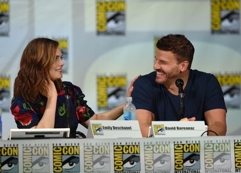 Costars Emily Deschanel and David Boreanaz were all smiles at Fox's Bones panel on Friday.