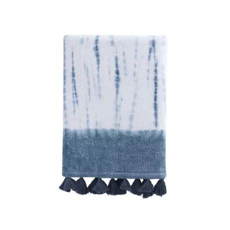 Sienna Tie Dye Stripe Bath Towel in Blue
