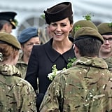 The Duchess of Cambridge chatted with army cadets during the St. Patrick's Day parade in Aldershot on Tuesday.