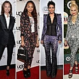 Take a cue from fashionistas like Halle Berry and Gwen Stefani, and opt for a daring printed suit instead of the standard solid color for your next night on the town.