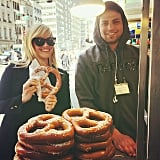 """Reese captioned this fun snap, """"I heart NY (and making new friends)(and how are there no pretzel or hot dog emoticons?!)"""""""