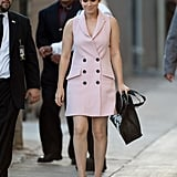 Kate made an appearance on Jimmy Kimmel's show in a baby pink tuxedo dress by Marissa Webb.
