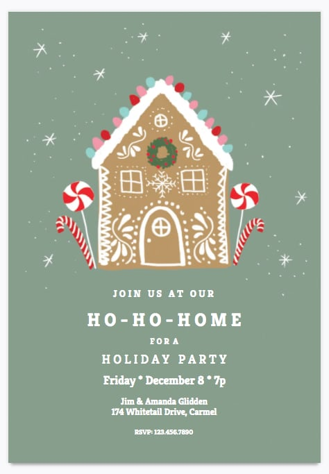 HoHoHome Holiday Party Invitation  Printable Holiday Party