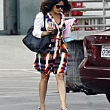 Salma Hayek stepped out in a bright wrap dress.