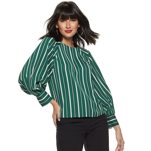 Nine West Petite Pleated Blouson Sleeve-Detail Blouse