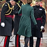 William helped Kate when her heel got stuck in a grate during a St. Patrick's Day visit to the Iris Guards in Aldershot in March 2013.