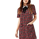 Floerns Tie-Neck Tweed Dress