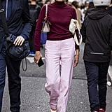 This Fall, try the color combo with a simple turtleneck-and-trousers outfit, channeling the likes of Jackie Kennedy's iconic style.