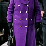 On her way to Sandringham House for her Christmas break in 2017, the queen wore her shoes with a purple double-breasted coat.
