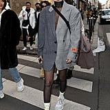 Bella Hadid Wearing the Heron Preston Blazer Dress