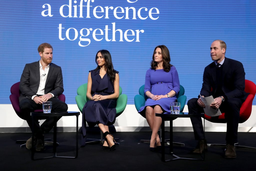 February: Meghan and Harry joined Prince William and Kate Middleton at the Royal Foundation Forum in London.
