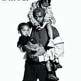 Kanye West With His Daughter North and Son Saint