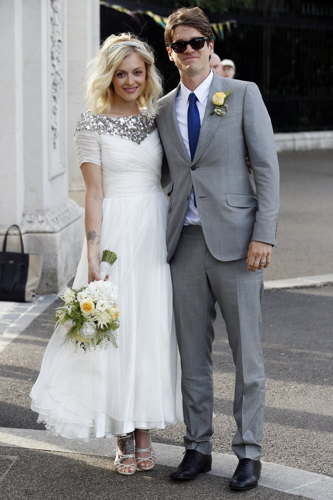 For her laid-back London wedding to Jesse Wood, Fearne Cotton picked a custom-made, sequin-trimmed, ballet-length dress.