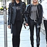 When She Was Twinning With a Pal in a Leather Jacket