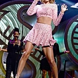 Taylor Swift broke it down on stage during her performance at the iHeartRadio music fest on Friday.