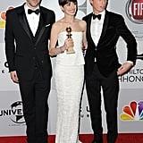 Sacha Baron Cohen, Anne Hathaway, and Eddie Redmayne
