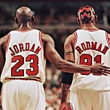 Michael Jordan and Dennis Rodman During an NBA Eastern Conference Semi-Finals Game in 1998