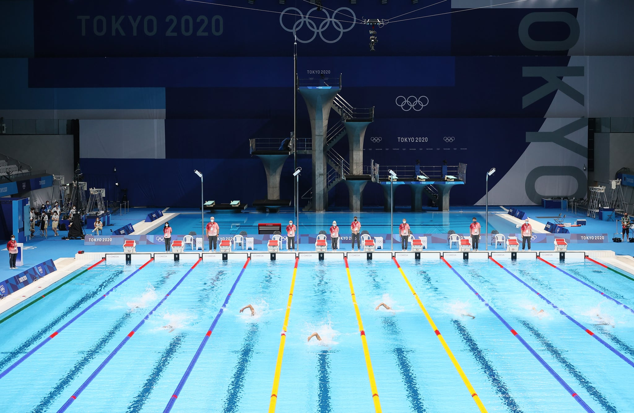 TOKYO, JAPAN - JULY 24: General view during heat two of the Men's 400m Freestyle on day one of the Tokyo 2020 Olympic Games at Tokyo Aquatics Centre on July 24, 2021 in Tokyo, Japan. (Photo by Tom Pennington/Getty Images)
