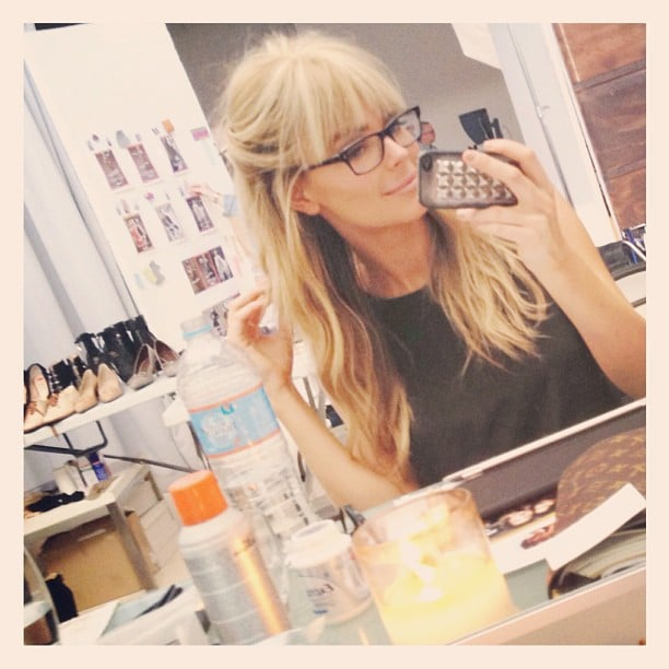 Jennifer Hawkins tried on some bangs for a Myer shoot. Source: Instagram user jenhawkins_