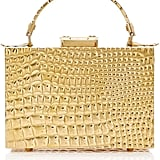 Mark Cross Croco Stamped Brass Mini Grace Box Bag