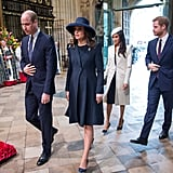 Kate and William walked ahead of Meghan and Harry as they entered Westminster Abbey.