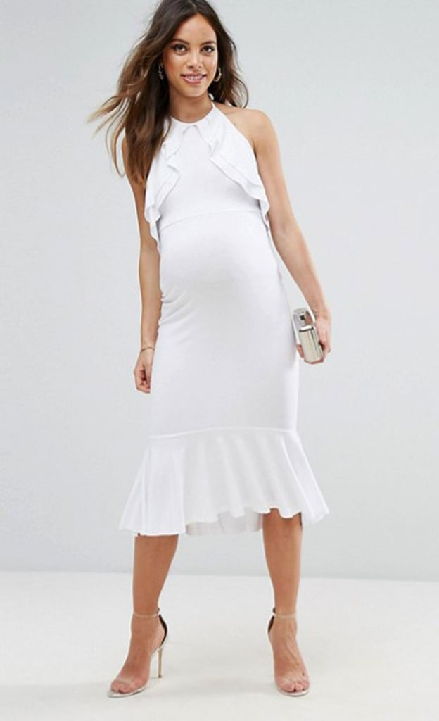 fe856ca35f3c9 We love the ASOS Maternity Double Ruffle Open Back Pephem Midi Dress ($45)  for